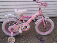 2 PINK CIRLES BIKES one 14 inch wheels and one 9 inch £45 both with stablisa