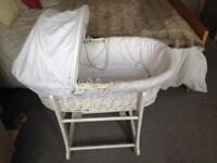 BEAUTIFUL John Lewis Moses Basket + Rocking Stand in EXCELLENT condition!