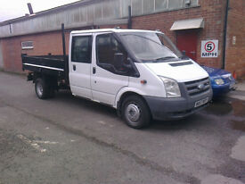 57 reg ford transit 350 double cab lwb tipper 2.4 turbo diesel 5 speed gear box no vat