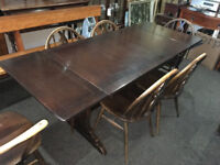 Lovely Vintage Retro Ercol 1960s Extending Dining Table and 6 Chairs (with 2 Carvers)