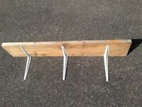 £10 Genuine Rustic Reclaimed Vintage Handmade Railway sleeper wooden shelf with brackets. Clearance.