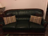 Stunning dark green Italian rose wood & leather sofa suite