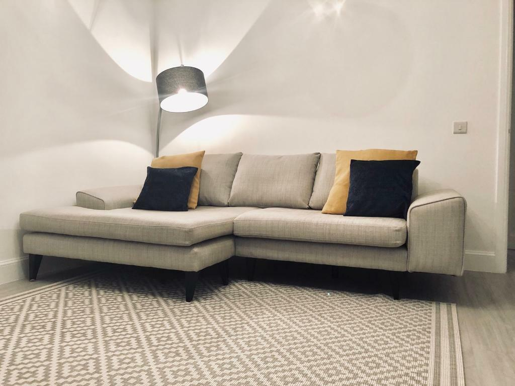 6dadb4bf1d4 French Connection light grey left facing chaise end corner sofa. | in ...