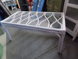 Painted White Glass Topped Bamboo Coffee table