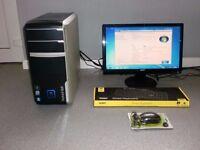 """computer pc quad core 4gb ram 19""""widescreen monitor"""