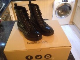 Bershka leather boots, size 6, worn once