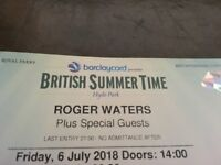 Concert Tickets - British Summer Time, Hyde Park - Roger Waters with Special Guests