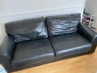 Next black leather sofa and snuggle chair