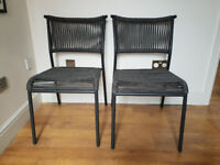 RRP £149 MADE . COM 2 x KYLO GARDEN DINING CHAIRS Grey Pair - NEW