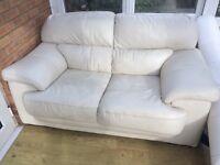 Cream leather sofas x 2 £30 each