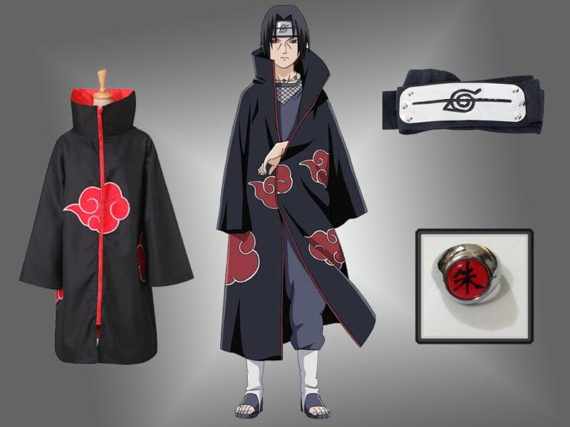 Anime NARUTO Uchiha Itachi Cosplay Costume Akatsuki Ninja Wind Coat Cloak set