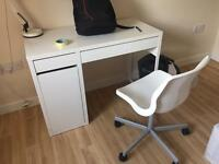 White ikea desk with a chair set