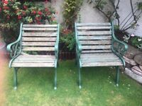 Pair of matching garden chairs requires TLC