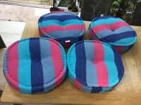 4 stripe round cushions lovely and bright never used