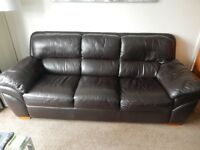 Free Brown Real Leather Three Seater Sofa