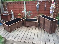 Garden Trough Flower or Vegetable Planters - Low version - hand Made from wood - Medium Size