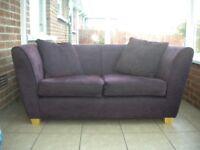 Lovely 2 Seater Sofa, Dark Purple