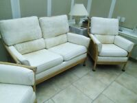 Conservatory cane furniture Settee and 2 Chairs Good Condition. From a Smoke and Pet Free Home.