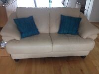 Reid cream leather sofas for sale