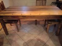 Jali, Indian Rosewood Dining Table and Six Chairs