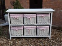 Reall pretty and very useful 6 basket childrens storage unit in wihite and pink