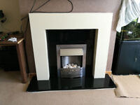 complete fire, hearth, back panel and mantle