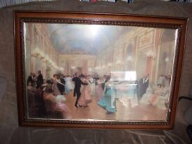 LARGE GLAZED PICTURE 1920's DANCE HALL 34inches x 24inches overall IN NICE WOOD FRAME