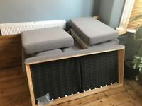 Ikea karlstad sofa two/three seater with chaise longue and two covers