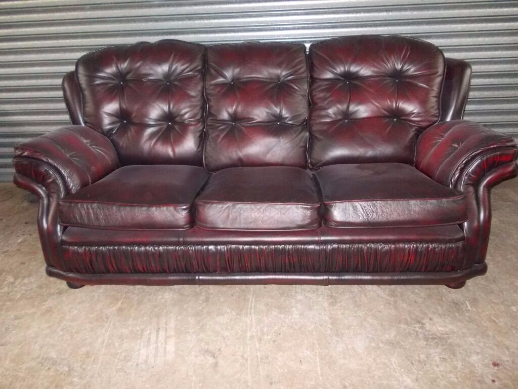 Oxblood Chesterfield Leather 3 1 1 Suite In Newry