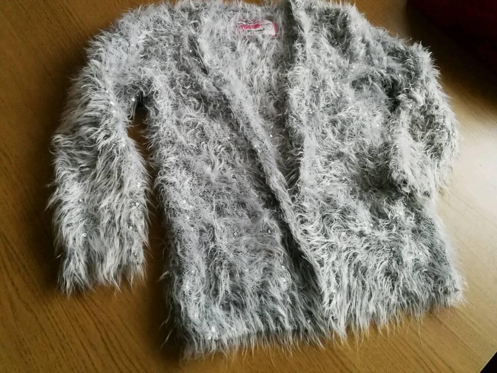 Silver fluffy shiny cardigan