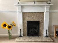 Marble hearth, wooden fire surround & Gas fire