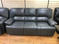Grey leather 3 & 2 seater recliners