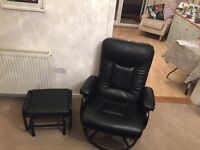 Black leather rocking reclining armchair with matching footstool
