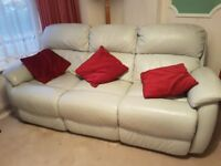 Excellent condition 3 seater grey leather sofa