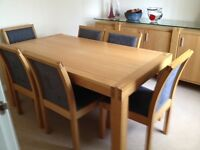 White Oak Dining Table and 6 Chairs