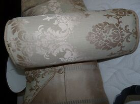 Floral Green/gold/beige assorted cushions, matching Curtains, Rail, Ties Backs & Brass Hooks, Shade