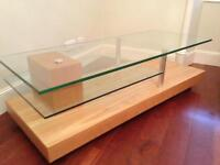 SOLID LIGHT PINE AND GLASS TV UNIT FOR SALE