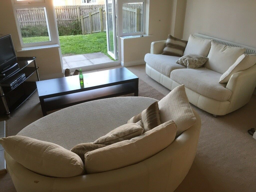 Dfs Quantum 3 Seater Sofa And Cuddler Cream Leather And