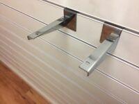 Slat wall Heavy Duty Chrome Metal Wooden Shelf Bracket 15cm Long Only £1 Each, Very Good Condition
