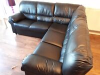 Black leather corner couch for sale