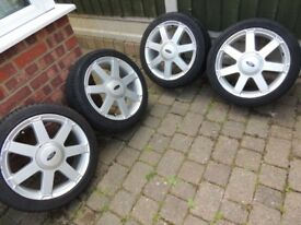 "4 x Ford 16"" alloys with 195/45/16 tyres suitable for Fiesta KA Focus Zetec Si Ecoboost Ghia ST"