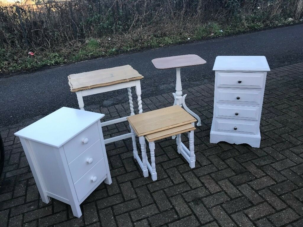 Joblot x 5 Shabby Chic Furniture Sizes Colours Tables Draw Units