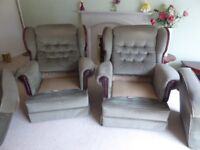 Compact mid green velour three piece suite 2-seater sofa and two armchairs excellent condition