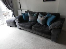 2 and 3 Seater sofas with matching storage pouffe
