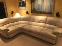5 Seater Cream Leather Corner Sofa (Comes in three parts)