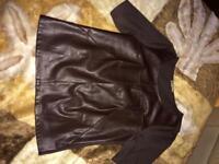 Chocolate leather blouse short sleeve size 10