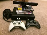 Xbox 360 4GB with Kinect, 2 controllers and 4 games