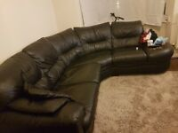 Lovely leather corner sofa, footstool, round sofa