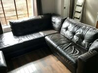 Leather corner sofa (brown)