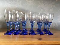 18 Blue Stemmed Glasses for sale